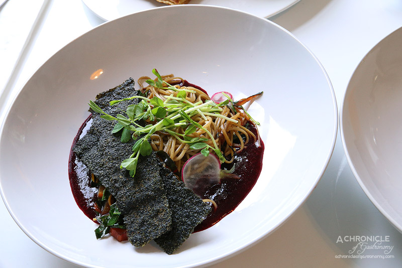 Aucuba Coffee Roasters - Green tea soba noodle with beetroot gazpachio, nori chips, radish and ponzu ($17.50)