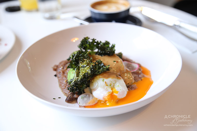 Aucuba Coffee Roasters - Teff with an onsen egg, shiitake mushrooms, avocado, kale chips and topped with organic miso foam ($18)