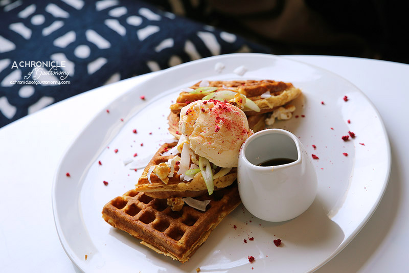 Aucuba Coffee Roasters - Sweet potato waffle with dehydrated coconut shavings, spring onions and maple miso sauce served with parmesan ice cream and caramel popcorn ($20.50)