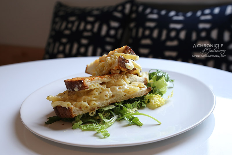 Aucuba Coffee Roasters - Truffled umami mac and cheese toastie with radicchio salad and mac balsamic vinaigrette ($16.50)