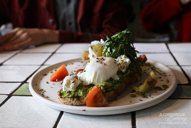 Fordham's Milk Bar - Avo Smash - heirloom tomatoes, seedy toast, goats feta, preserved lemon, poached eggs ($17)