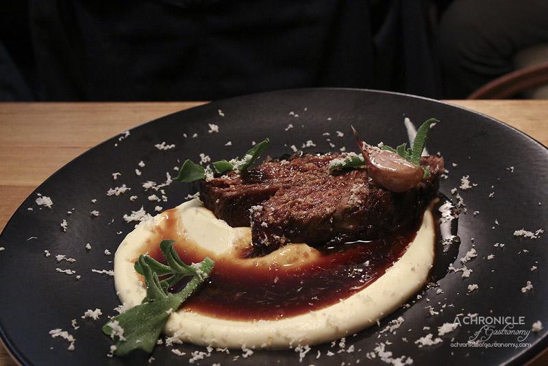 Hell of the North - Braised beef short rib, celeriac, horseradish and red wine sauce ($32)