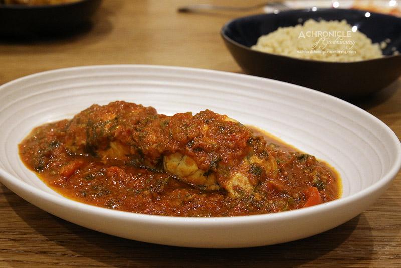 Mama Morocco - Moroccan Fish in thick, spicy tomato andred capsicum sauce, spices, coriander, garlic, fresh lemon