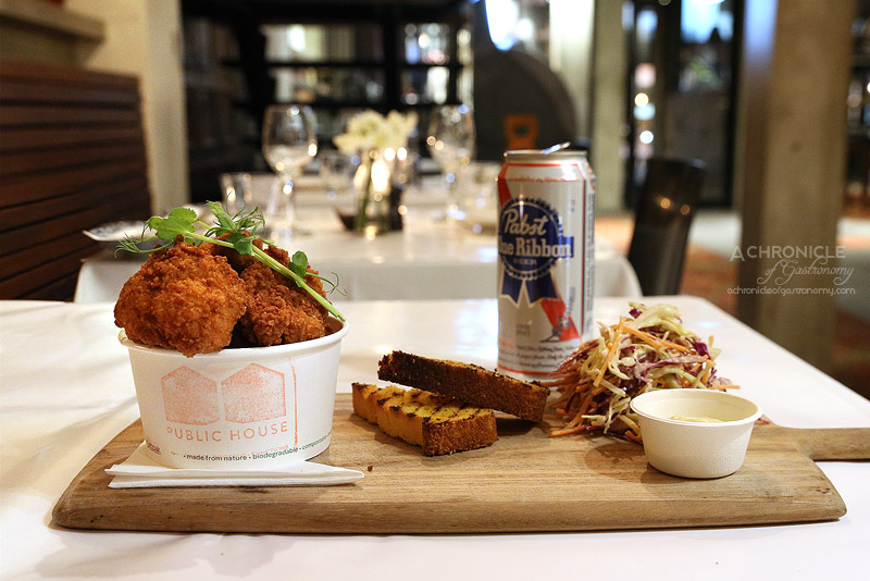 Public House - Southern fried chicken, corn bread, coleslaw & an American beer or glass of wine ($18)