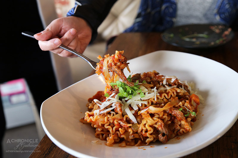 Pasta Mafalde al Ragu – Slow cooked lamb ragu with shaved pecorino ...