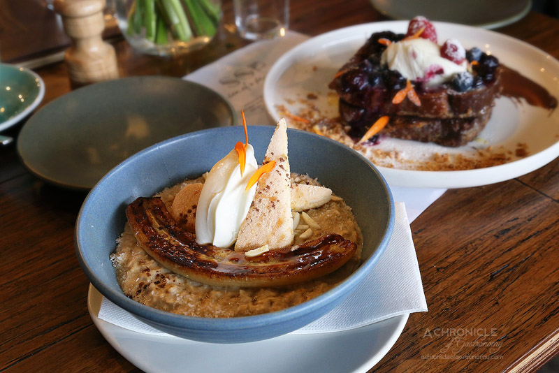 Son of a Pizzaiolo - Tiramisu Porridge - Lightly coffee-infused rolled oats with mascarpone, dried organic coconut, slivered almonds, cacao powder, sponge fingers, caramelised banana