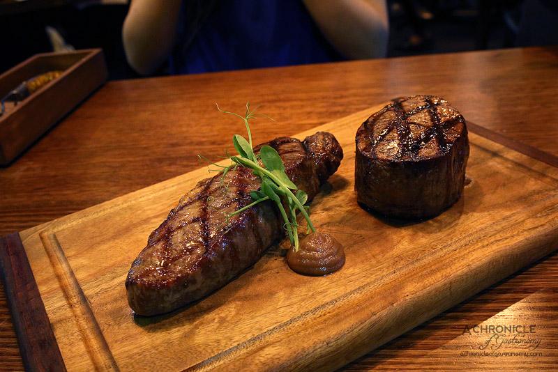 Steak Ministry Bar & Grill - Sher Wagyu 400 day grain fed Eye Fillet MS7, Master Kobe 550 day grain fed Porterhouse MS9+