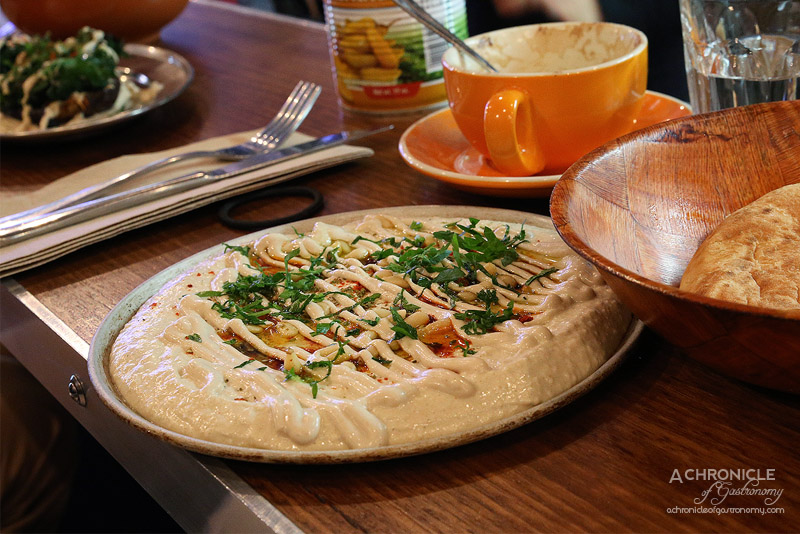 Tahina Bar - Hummus plate - fresh hummus with pita bread ($7)