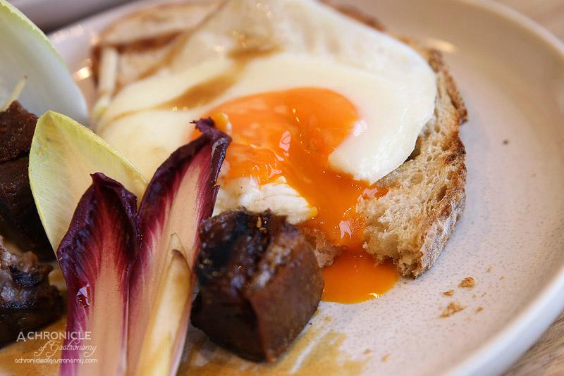The Penny Drop - Sweet & Sour Pork Knuckle - Fried duck egg, Fuji apple, witlof, toast ($19.50)