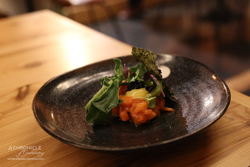 West of Kin - Winter 2016 Menu Launch - Cho-gochujang ceviche kingfish, avruga caviar, almond cream, quail egg yolk, sea cucumber, ice plant, kelp infused oil