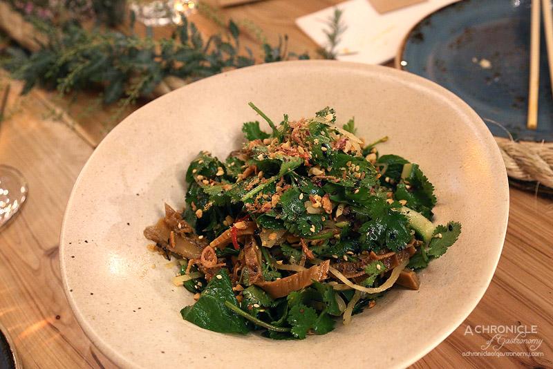West of Kin (35) Winter 2016 Menu Launch - Traditional West of Kin salad with tripe, spleen, coriander, cucumber, sesame seeds, Vietnamese mint, peanuts, fried shallots