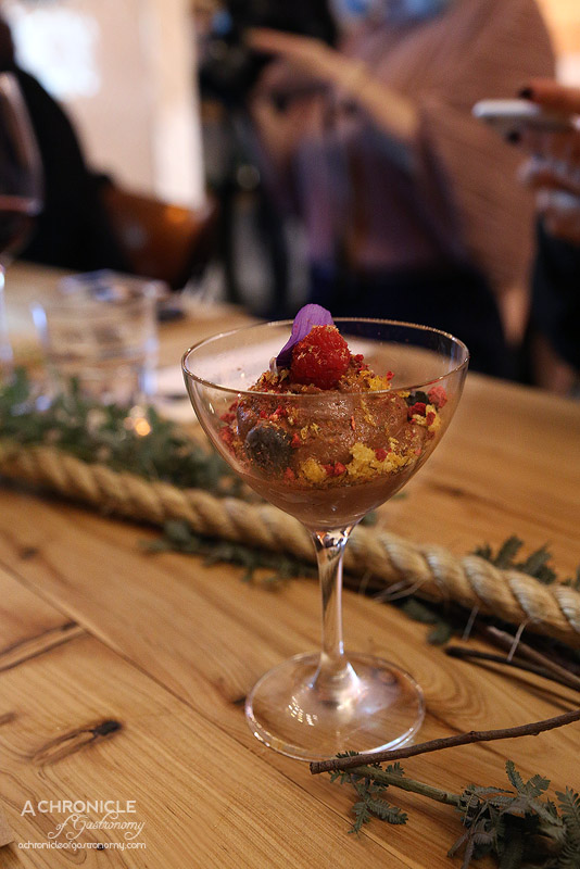 West of Kin - Winter 2016 Menu Launch - Valhrona chocolate mousse, fresh and freeze dried raspberries