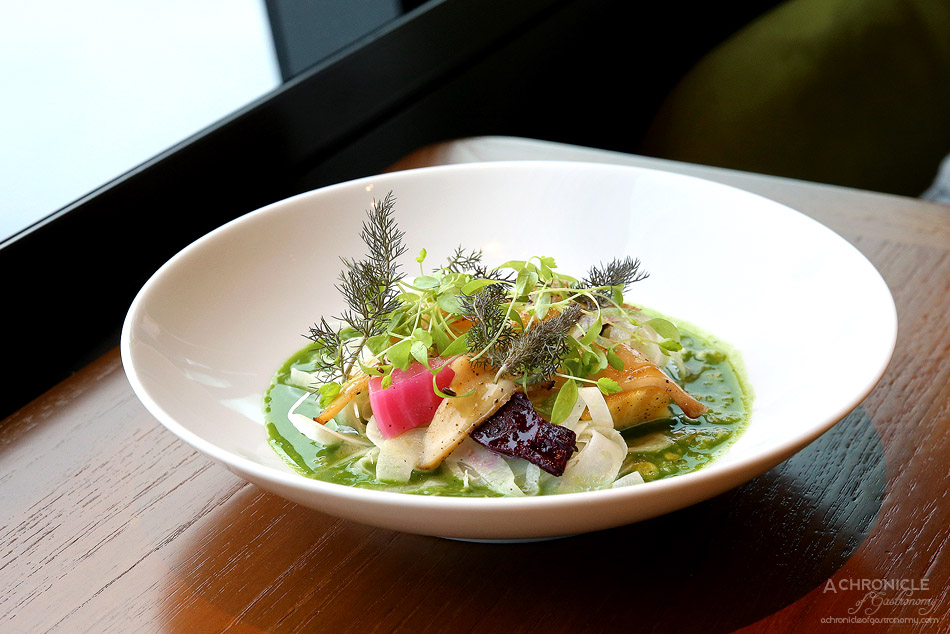 Dinner by Heston - Savoury Porridge (c.1660) - Garlic & parsley butter, grilled abalone, pickled beetroot & fennel ($36)
