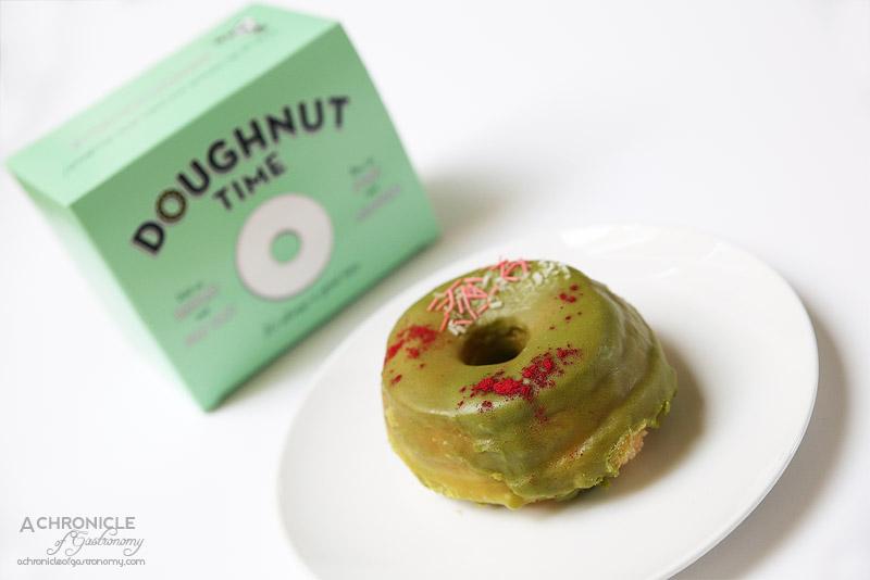 Doughnut Time - A Matcha Made In Heaven (Vegan) - Matcha green tea glaze, freeze-dried raspberry powder and vegan sprinkles