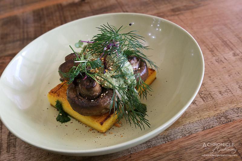World Vegetarian Cafe - Mushies - Roasted mushroom medley, grilled polenta, basil cashew cheese ($15.50)