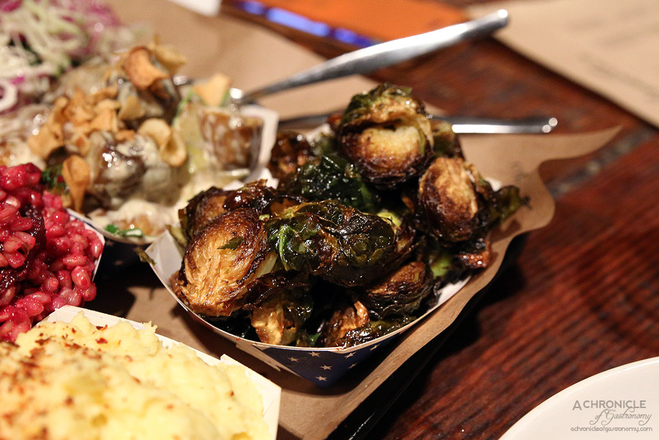 Bluebonnet Barbecue - Miso-glazed fried brussel sprouts