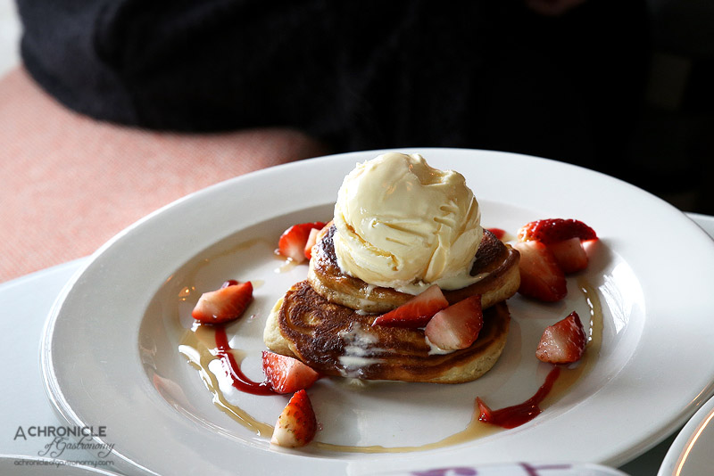 Bossy Boots - Buttermilk pancakes w strawberries, ice cream and maple syrup ($15)