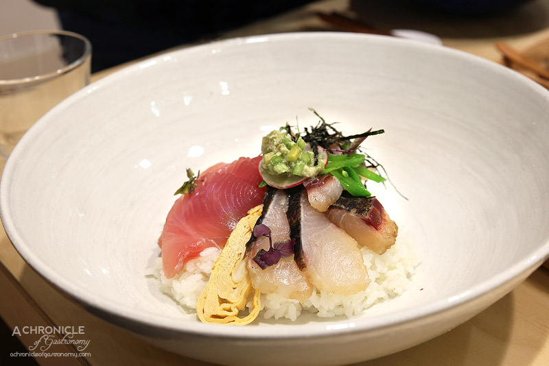 Chotto - Nishoku don - Sashimi ike-jime Robbins Island yellowfin tuna and Ballins Nth sawara (Spanish mackerel) with shredded egg and nori on a bed on Akita Komachi rice, miso soup ($30)