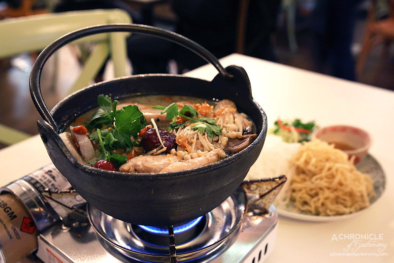 House of Hoi An - Chicken hot pot with mushrooms (Lau nam ga) - Slow cooked country hen with red dates, wild mushrooms and eight treasures, rice and egg noodles, sesame dip and fresh herbs ($32)