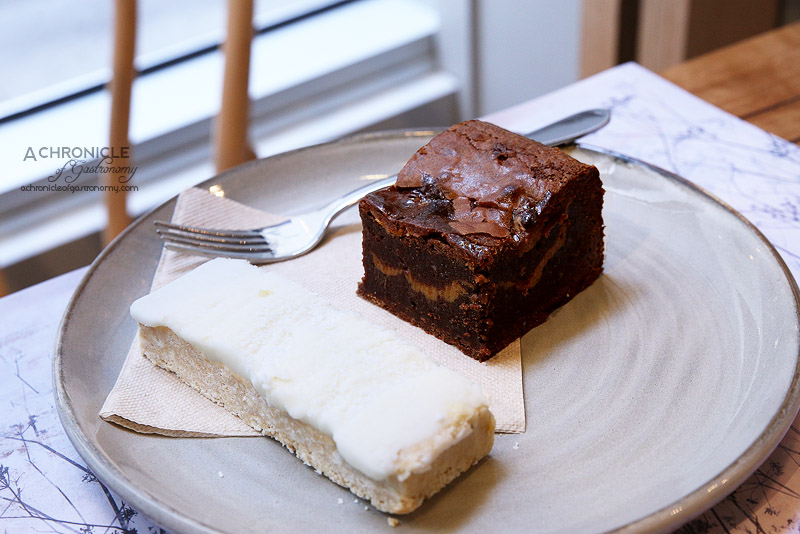 Lt Osteria - Gluten free salted caramel brownie, lemon and coconut slice with lemon frosting ($4)