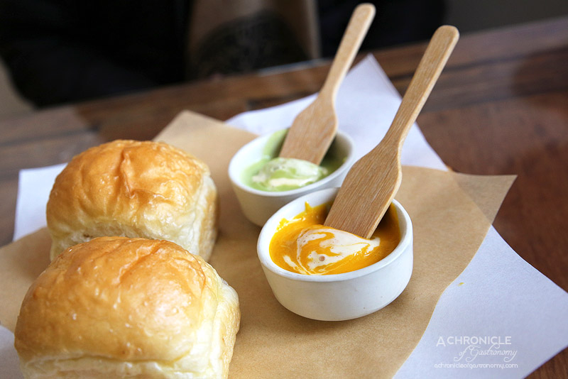 Oneyada - Kaya toast - House farmhouse mini loaf with pumpkin kaya and pandan kaya ($9.80)