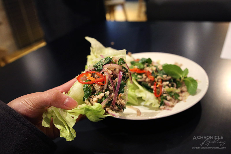 Pintoh - Larb gai - Spicy chicken mince, toasted rice, red onion, mint, coriander, nam yum dressing ($22)