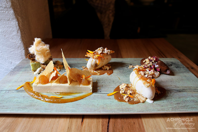 Sezar - Honey Cream - saffron poached pear, sweet brik pastry, New Style Baklava - Crispy filo, walnut toffee ice cream and salted caramel