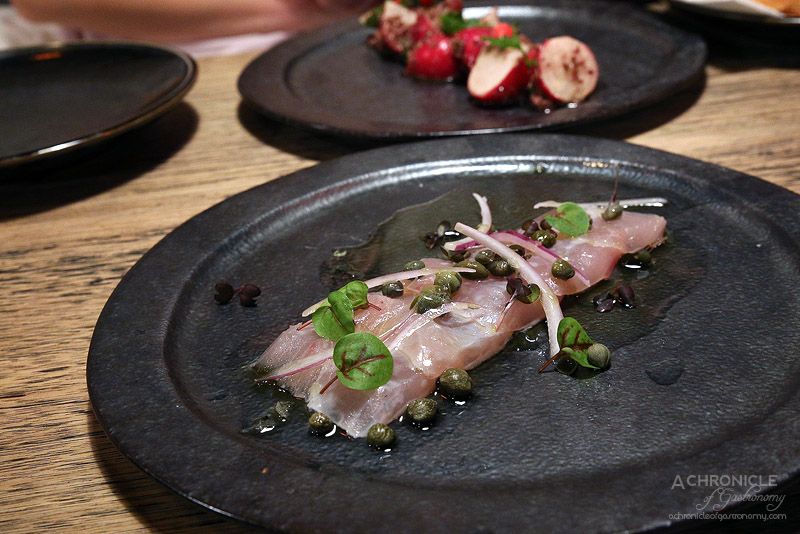 Spare Me Kitchen (27) Hiramasa kingfish, lemon oil, shoots