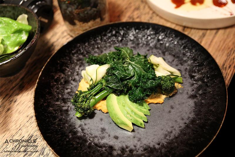 Spare Me Kitchen - Charred broccolini, zucchini, kale, avocado, spiced hummus