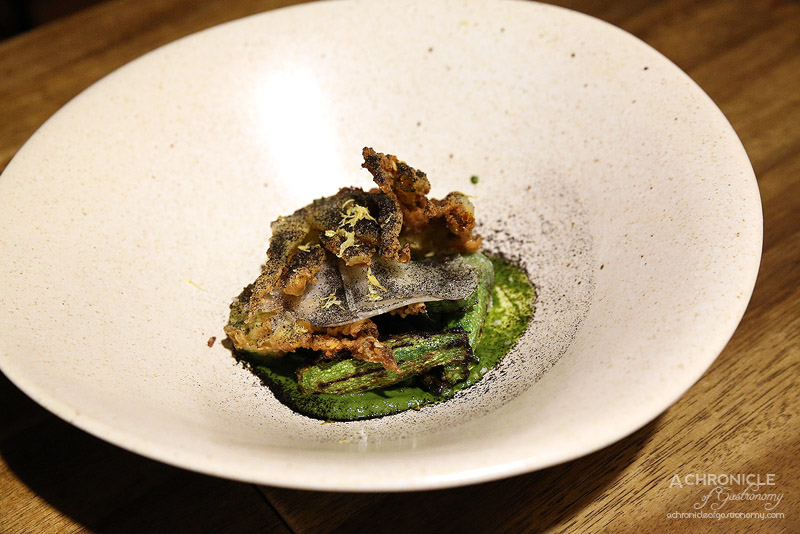 Pablo Honey - Grilled Baby Zucchini - Green garlic, manchego, onion ash and lemon ($15)