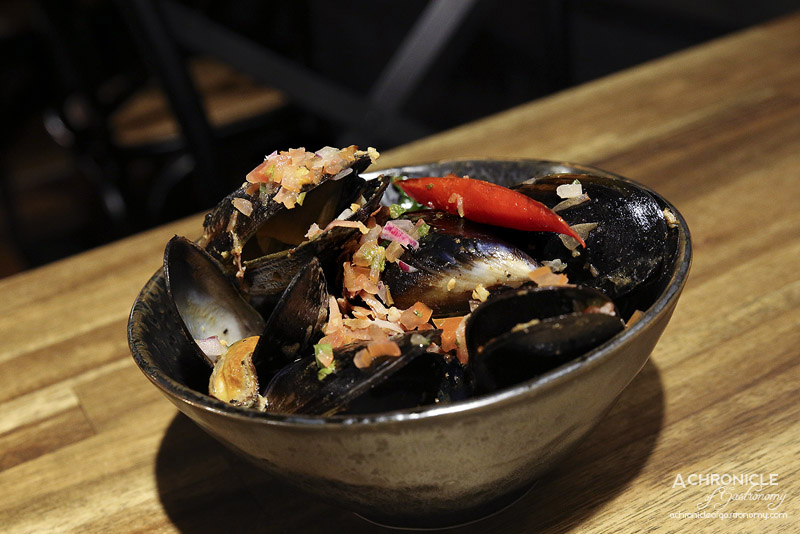 Pablo Honey - Spring Bay Mussels - Jamon, aji amarillo butter & coriander ($18)