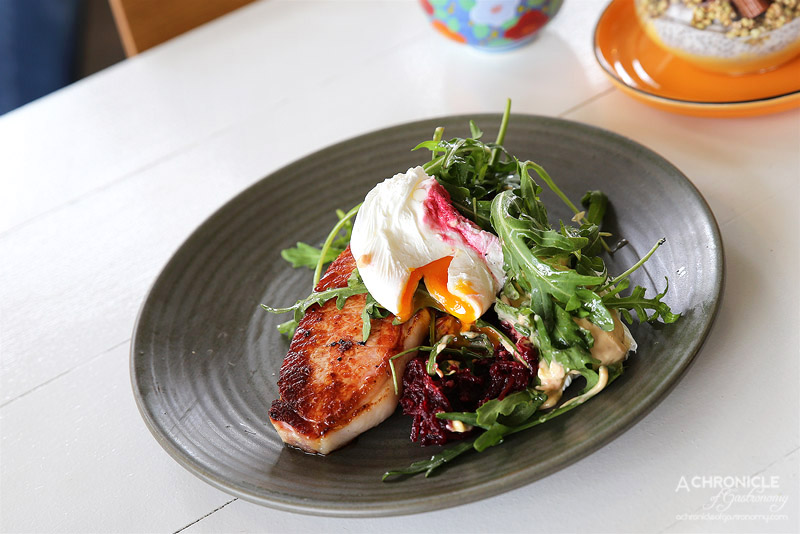 Punchbowl Canteen - Thick Cut Bacon - gruyere potato cake, beetroot relish, chipotle mayo, poached eggs ($19)
