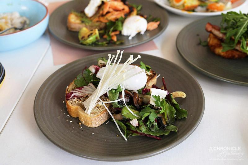 Punchbowl Canteen - Warm Pine Mushrooms - mascarpone, hazelnut dukkah, radicchio, parsley, poached eggs, toast ($18.50)
