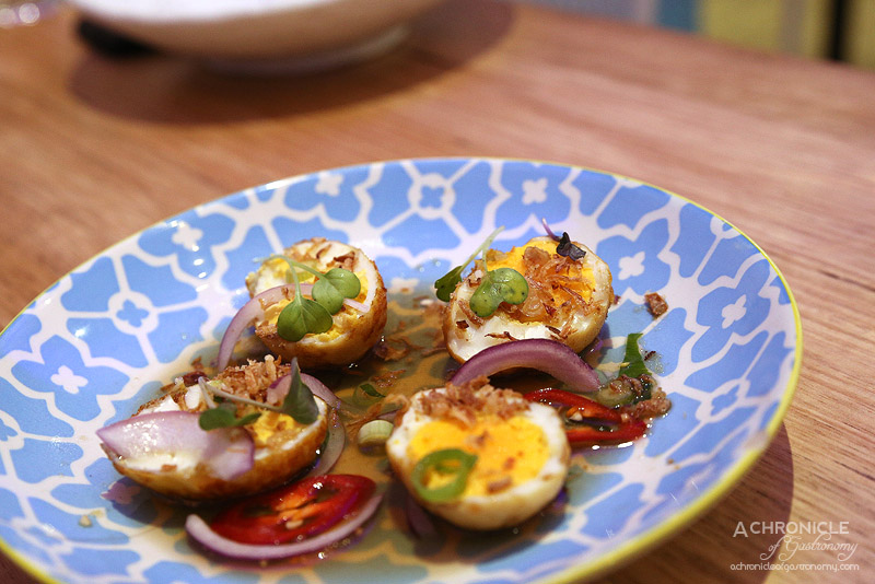 Son in Law - Son In Law Eggs - Sweet tamarind, chilli, fried shallots ($8)