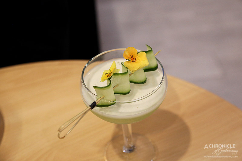 Spring and Summer - Grandmas Vacation - Hendricks gin, St Germaine elderflower liqeur, cucumber ($19)