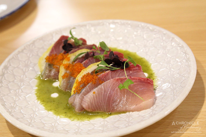 Spring and Summer - King Fish Sashimi, Green Namjim, Coconut Cream ($18)