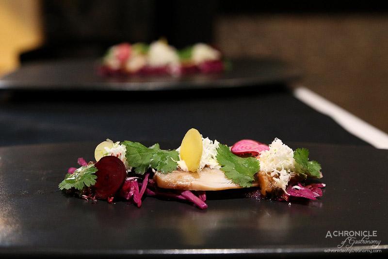 Tu - Carpaccio de poulpe - Octopus carpaccio with red cabbage salad, fresh coconut and coriander ($25)