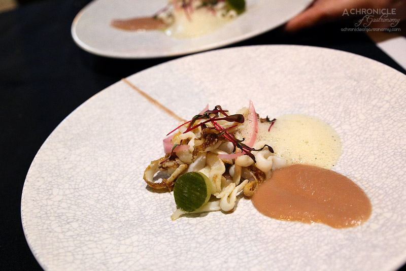 Tu - Chipirons - Tender calamari pieces, onion puree and crumble, beurre noisette foam ($26)