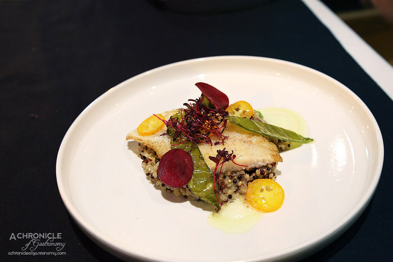 Tu - Poisson de la Semaine - Seared mirror dory with quinoa, cucumber foam, cumquat ($33)