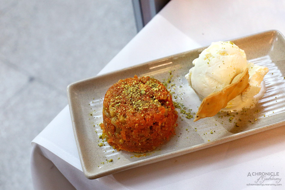 Bhoj - Gajjar Halwa - Grated carrot pudding slow cooked and reduced with milk and nuts, vanilla ice cream ($8.50)