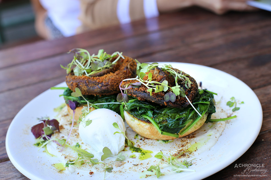 Collective Espresso - Herb crumbed mushrooms on English muffins w porcini pesto, wilted spinach, served with trufflenaise and poached egg ($16.50 + 2)