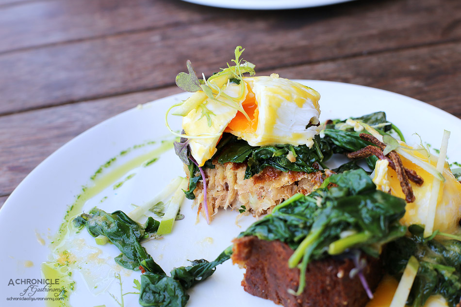 Collective Espresso - Eggs Benny - poached eggs, crispy pork & potato hash, wilted spinach, apple & herb salad, hollandaise ($19.50)