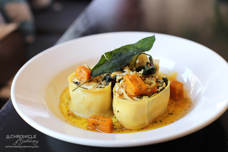 Fat Penguin - Rotolo pasta - rolled pasta sheets filled with pumpkin, spinach, ricotta, pinenut, sage, parmesan & olive oil ($18.50)