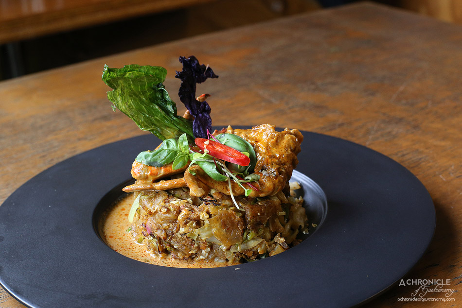 Pavlov's Duck - Kottu w crab - Chopped roti, vegetables, eggs & spices ($21.50)