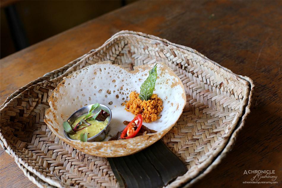 Pavlov's Duck - Plain hopper w dhal, coconut sambol & chilli onion
