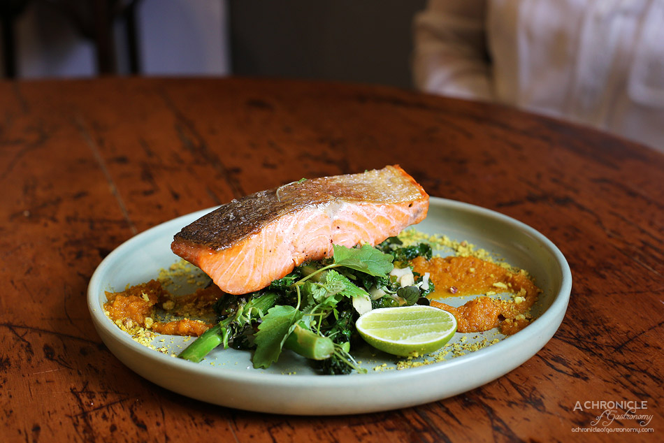 Saint James - House Cured, Crispy Skin Ocean Trout, broccolini, almond, kale, carrot and cumin puree, ruby murray dukkah, lime ($21.50)