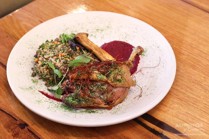Two Birds One Stone - Confit duck w grain salad, king oyster mushrooms, beetroot puree ($20)