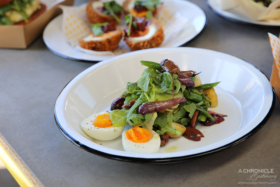 Good Egg - Niche - Soft boiled egg, baby cos, mount zero olives, chat potatoes green beans, red onions, smoked cherry tomatoes & a tarragon vinaigrette ($11+4 tuna)