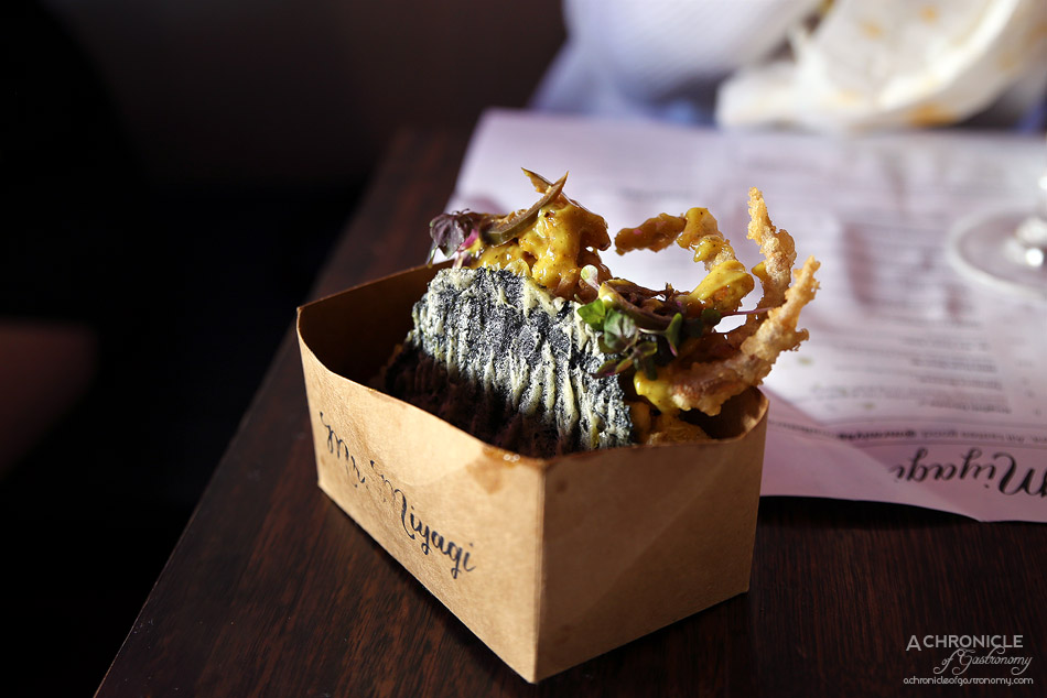 Mr Miyagi - Bombay Spider Crab Taco - tempura soft shell crab, sushi rice, curried mayo, avocado guac, nori taco shell ($14)
