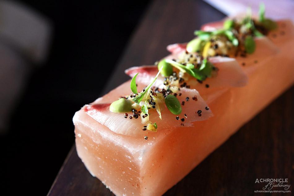 Mr Miyagi - Himalayan Salt Slab Cured Kingfish - quinoa, green chilli, coriander, fennel, apple, lemon ($15)